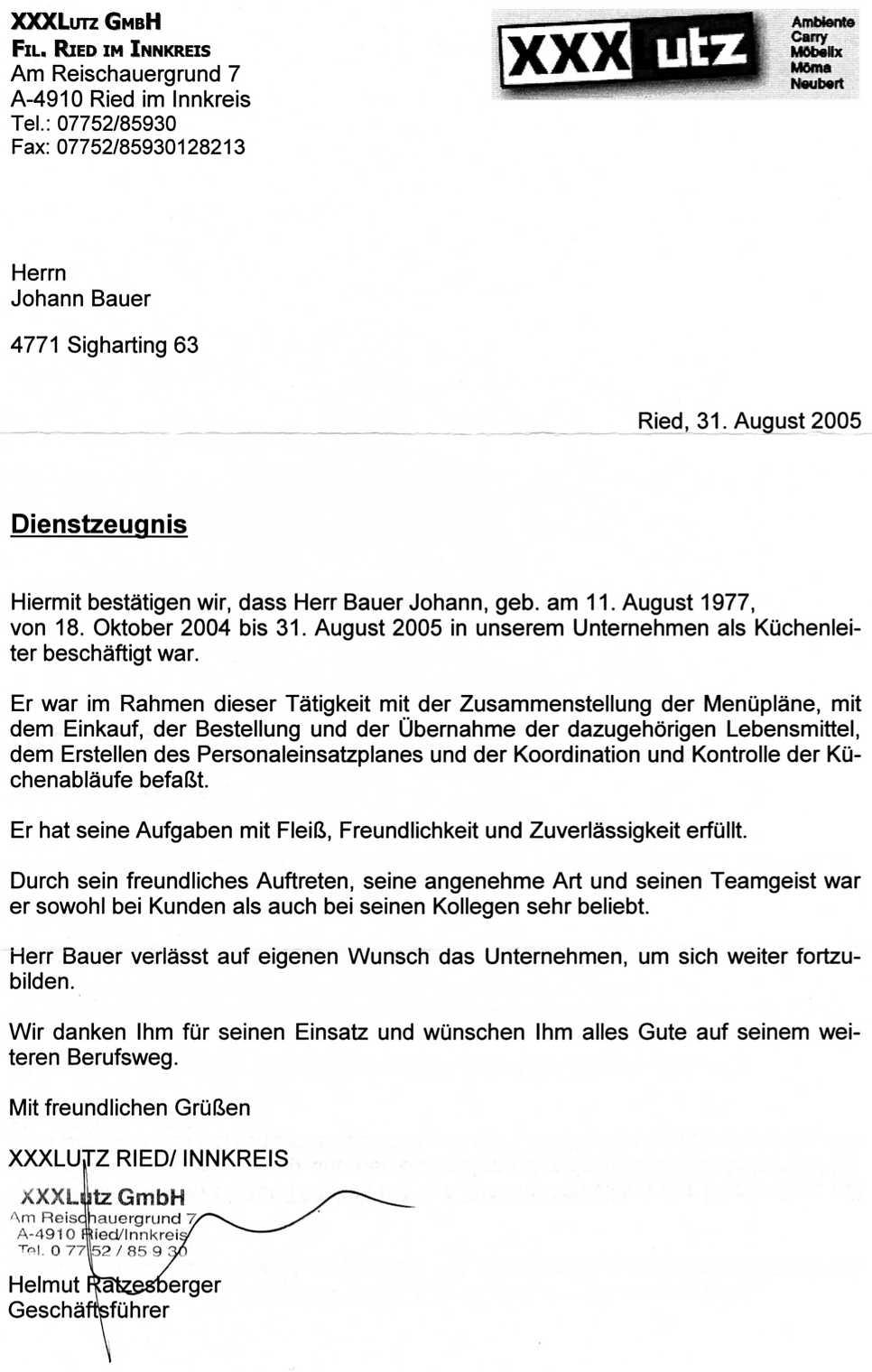 Beruflicher Werdegang   Johann Bauer